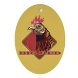 Big Red Country Rooster Oval Ornament