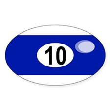 BILLIARD BALL 10 Oval Decal