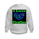 I Love Fireflies Kids Sweatshirt