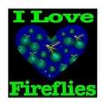 I Love Fireflies Tile Coaster