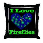 I Love Fireflies Throw Pillow