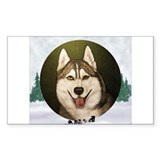 Siberian Husky & dog team Rectangle Sticker 10 pk