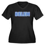 Retro Belen (Blue) Women's Plus Size V-Neck Dark T