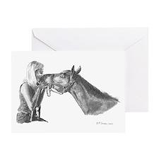 Horse Kisses Blank Greeting Card