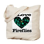 I Love Fireflies Midnight Hea Tote Bag