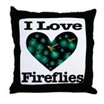 I Love Fireflies Midnight Hea Throw Pillow