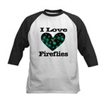 I Love Fireflies Midnight Hea Kids Baseball Jersey