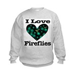 I Love Fireflies Midnight Hea Kids Sweatshirt