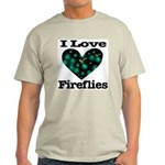 I Love Fireflies Midnight Hea Light T-Shirt