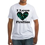 I Love Fireflies Midnight Hea Fitted T-Shirt