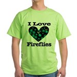 I Love Fireflies Midnight Hea Green T-Shirt