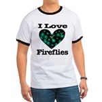 I Love Fireflies Midnight Hea Ringer T