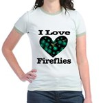 I Love Fireflies Midnight Hea Jr. Ringer T-Shirt