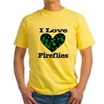 I Love Fireflies Midnight Hea Yellow T-Shirt
