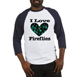 I Love Fireflies Midnight Hea Baseball Jersey