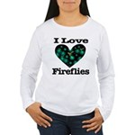 I Love Fireflies Midnight Hea Women's Long Sleeve