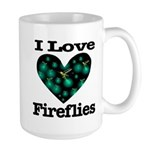 I Love Fireflies Midnight Hea Large Mug