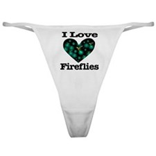 I Love Fireflies Midnight Hea Classic Thong