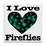 I Love Fireflies Midnight Hea Tile Coaster