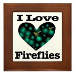 I Love Fireflies Midnight Hea Framed Tile