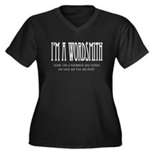 Wordsmith Women's Plus Size V-Neck Dark T-Shirt