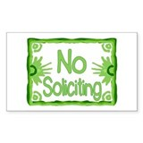 No Soliciting Green Rectangle Decal