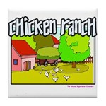 Chicken Ranch Farm Texas Tile Coaster