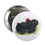 "Black Frizzle Cochins2 2.25"" Button"
