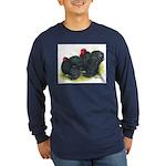 Black Frizzle Cochins2 Long Sleeve Dark T-Shirt