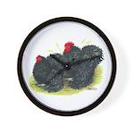 Black Frizzle Cochins2 Wall Clock