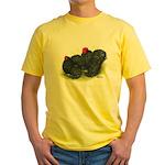 Black Frizzle Cochins2 Yellow T-Shirt