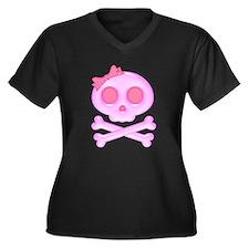 Pink Skull Women's Plus Size V-Neck Dark T-Shirt