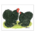 Black Frizzle Cochins Small Poster