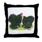 Black Frizzle Cochins Throw Pillow