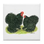 Black Frizzle Cochins Tile Coaster