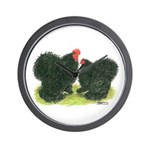 Black Frizzle Cochins Wall Clock