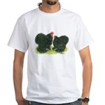 Black Frizzle Cochins White T-Shirt