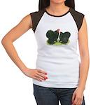 Black Frizzle Cochins Women's Cap Sleeve T-Shirt