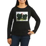 Black Frizzle Cochins Women's Long Sleeve Dark T-S