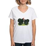 Black Frizzle Cochins Women's V-Neck T-Shirt