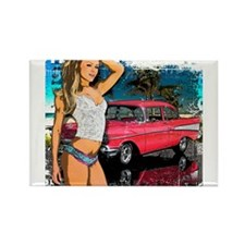 57 Chevy Girl Rectangle Magnet