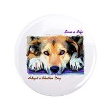 "Save a Life - Adopt a Shelter 3.5"" Button (10"