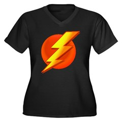 Superhero Women's Plus Size V-Neck Dark T-Shirt
