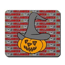 Pumpkin in Halloween Hat Mousepad