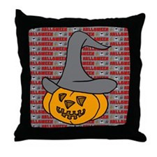 Pumpkin in Halloween Hat Throw Pillow