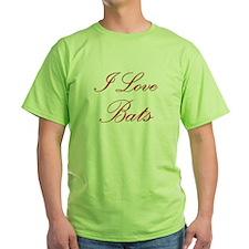 I Love Bats Green T-Shirt