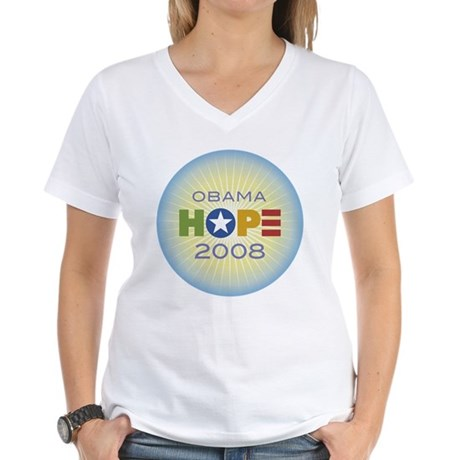 Obama Hope Circle Women's V-Neck T-Shirt