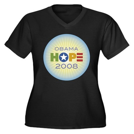 Obama Hope Circle Women's Plus Size V-Neck Dark T-