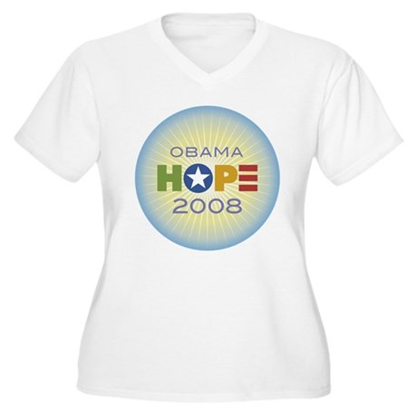 Obama Hope Circle Women's Plus Size V-Neck T-Shirt