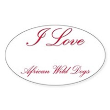 I Love African Wild Dogs Oval Sticker